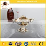 Porcelain art and craft wholesale/wedding decor ceramic fruit bowl with stand for table centerpieces