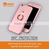 Shockproof PC case 360 Protective front & back case with ring stander + Special size tempered glass screen protector