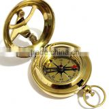 Brass Pocket pendant sundial compass -push button direction compass 13260