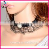 European and American gothic mysterious sexy lace pearl necklace