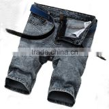 summer new model men denim vintage straight denimstretch half pants jeans shorts