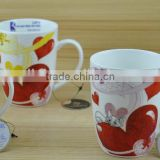 11OZ white cat with red heart full decal print coffee cups, shiny surface new bone china mug, KL5004-10285