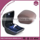 Black Pu Leather Custom Ring Jewelry Box With Led Light Wholesale                                                                         Quality Choice