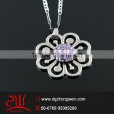 Trendy jewelry stainless steel crystal flower of life pendant
