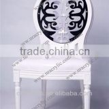 shanghai event rental furniture acrylic solid wood carved stacking Medaillon chair black lace back