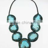 Blue Howlite with Stone and Beads Wax cotton thread with mixed natural stone, Stone necklace WT33
