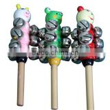 3X Baby Kid Rainbow Handle Wooden Activity Bell Stick Shaker Rattle Toy,musical baby bell toy
