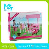 2016 New !Eco-friendly Plastic 11Inch Movable Joints Riding Barbie Girl+Quadrangular Stable+Horse+Tools Toys MZT8986