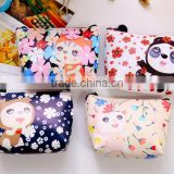 Hot selling canvas Zipper cotton little girls printing wallet fancy promotional gift cute lassock printed euro coin purse