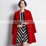 Wholesale Red Color Women's Australian Shearling Sheepskin Fur Long Coat with Reasonable Factory Price