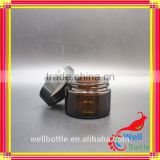 50g amber cream jar with glass jar for cream with black gold cap wellbottle wholesale