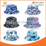 Bucket Hat Blue Tropical Floral Hawaii Tie Dye Paint Hat Fishing Sun Cap Goldtop
