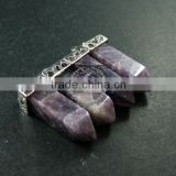 30x12mm faceted pillar amethyst stick stone pendant charm silver bail DIY jewelry findings supplies 1800137