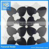 black marble mixed carrara white honed water jet mosaic tiles