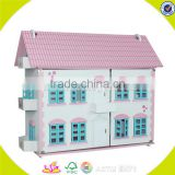 Wholesale kids beautiful wooden dollhouse miniatures fashion baby wooden dollhouse toy W06A030