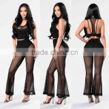 matching shirt and pants Women Front Lining Strappy Back Detail Fishnet Crop Top And Wide Leg Bell Bottom Pants