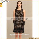 Summer high quality sexy OEM service crepe formal lace dresses for women