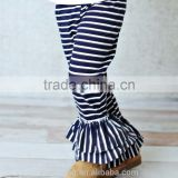 White And Black Stripe Popular Design Toddlers Leggings Wholesale Icing Pants Ruffle Pants For Girls