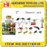 Funny 16pcs non-taxic PVC plastic 3 inches 3D insect animal set small promotion gift toys EN71