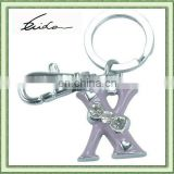 SIMPLE LETTER X KEYCHAIN WITH CRYSTAL