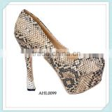 shoes manufacture custom made new arrival snakeskin high heel stiletto PU upper women office party shoes