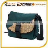 Colorful cork or hemp nylon laptop bag with water-repellent coil zippers on side pockets