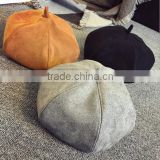 High Quality Custom Suede Painter Hat Beret Caps Pumpkin Octagonal Hat/Cap
