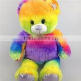 2016 promotion gift rainbow color bear soft plush toys, plush rainbow teddy bear for gifts