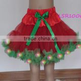 2016 christmas led tutu skirts baby girls,red and kelly green children shiny light dress clothing,lovely kids led bubble skirt