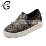 Women's Slip on Round toe Serpentine Flat Platform Black Silver Girl's Height Increasing Casual Spring Summer Shoes