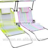 2014 New Design Folding Reclining Aluminium Canopy Beach Lounge Trolley Beach Chair