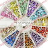 New Fashion Colorful Nail Art Tips Crystal Glitter Rhinestone Fushion Nail Art 720pcs/wheel