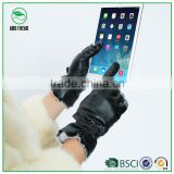 2015 new premium sheepskin fashion leather gloves women dress rex rabbit fur cuff warm touch screen gloves