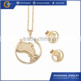 FJS0025 Fashion China wholesale stainless steel dolphin jewelry set