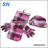 winter fashion checked polar fleece scarf gloves beanie set