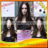 Full Lace Wig 7A silky straight wave Indian virgin human hair lace wigs natural hairline