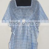 Sexy Women Fashionable Designer Kaftan Indian Handmade Cotton Block Printed Caftan Designer Top Poncho Kimono