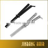Black and Sliver 22cm Stainless steel Foldable Butterfly Knife Style Butterfly Hair Comb