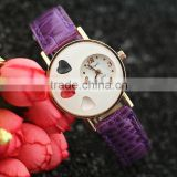 Unique Design women Heart Dial Leather Strap Watch Charm vogue Lady Quartz Wrist Watches