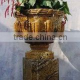 Gold Garden Pots And Planters Hand Sculpture Carving Stone Marble For Resort, House And Garden