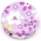 Woven Cloth Woven Beads, Acrylic with Cloth, Violet, Flat Round, 33x11mm, hole: 3mm.(WOVE-R002-8)