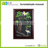 Wholesale eco-friendly activated carbon pine crane modern art wooden carved picture frames