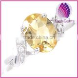 Wholesale Ring,sterling silver and citrine, 6x8mm faceted oval with four-rhinestone ,size 6-9.