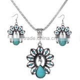 Hot fashion jewelry ethnic wind peacock necklace set