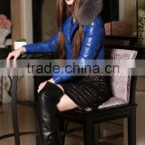 Factory sale blue sheepskin leater down coat with fox collar