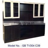 Black TV Cabinet With MDF Board Living Furniture, new model tv stand, tv cabinet with showcase, led tv wall unit, tv unit design