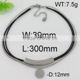 Hottest style black leather round stainless steel necklace choker