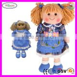 B060 Blue Floral Skirt Arms and Legs Stuffed Doll Soft Rag Doll Arms and Legs