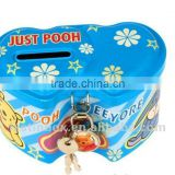 2014 New Style Tin Box For Coin Money Saving Tin Boxes small with lock heart shaped cion bank