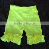 Wholesale boutique yellow solid color breathable cotton baby girls ruffle shorts MH5051317